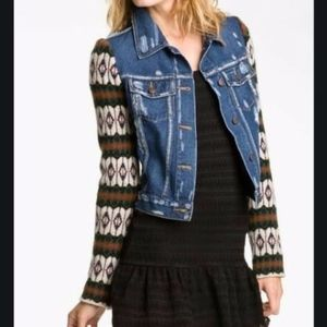 Free People Denim Jacket W/ Wool Sleeves Sz S